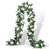 EPLST 2 Pack / 15.7 FT Artificial Flowers Garland Fake Flower Rose Vine Lifelike Silk Decorative Wall Hanging Plant for Wedding Arch Door Arrangement Party Garden Home Bedroom Office Decoration White