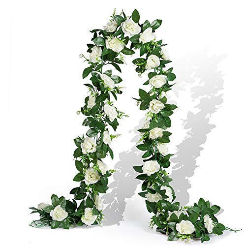 EPLST 2 Pack / 15.7 FT Artificial Flowers Lifelike Silk Decorative Faked Flower Rose Vine Rattan Cane Garland Wall Hang Plant Wedding Party Home Garden Hotel Office Arch Arrangement Decoration (White)