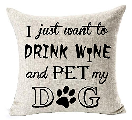Andreannie Best Dog Lover Gifts Nordic Sweet Funny Sayings I Just Want to Drink Wine and Pet My Dog Paw Prints Cotton Linen Throw Pillow Case Cushion Cover New Home Decorative Square 18 Inches