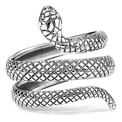 Materia joyería 925 anillo de plata serpiente 7,7 G antiguo - hombres mujeres anillo Cobra Serpiente Gr, 16 17 18 mm con anilla Box #SR-35