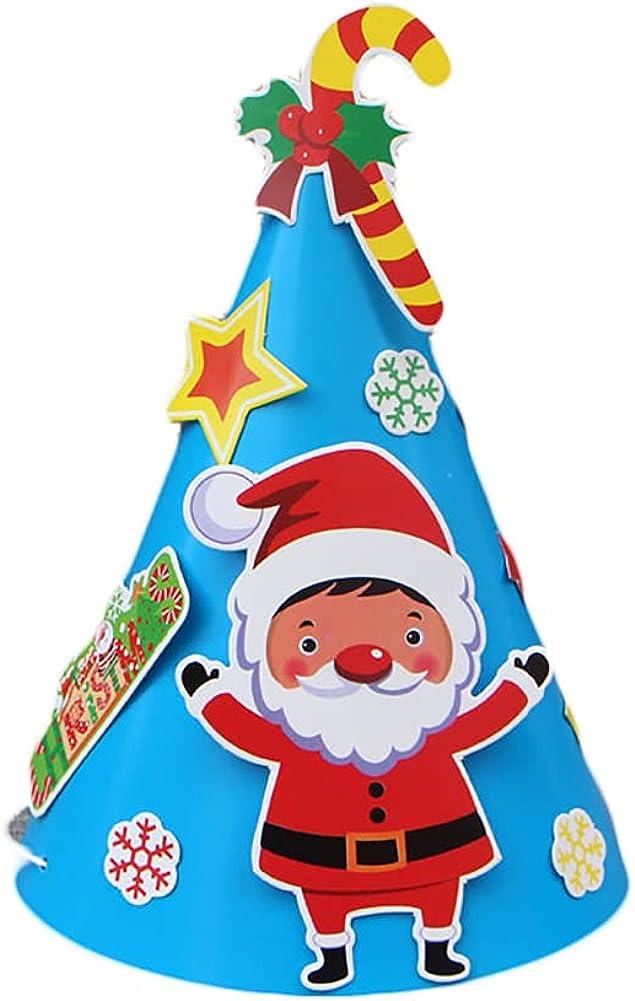 Shewe - Sombrero de Navidad de papel para fiesta de Navidad (árbol de Navidad en copo de nieve), kit de herramientas de juguete educativo creativo para niños para niños, sombrero, hecho a mano