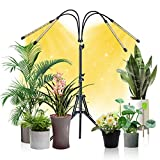 Grow Lights for Indoor Plants Full Spectrum, GOODEER 100W Led Bulb Growing Sunlight Lamps with Wire Control, 4 Lighting Modes and 6 Dimmable Level, 3 /6 / 12H Timer, Tripod Stand Adjustable 15-59 in