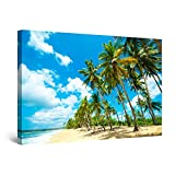 Startonight Cuadro Moderno en Lienzo - Playa Tropical y Palmeras - Pintura Paisaje para Salon Decoración Grande 80 x 120 cm