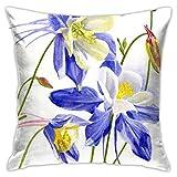 YSamuel Kissenbezüge, Kissenbezug, Blüten Weiß Künstlerische DREI Blaue Columbine Blüten Aquarellmalerei von Blumen Schöne Knospen