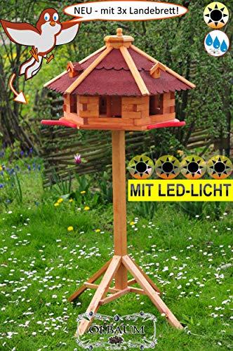 BTV Ölbaum Massivholz-Vogelhaus Hellbraun/orange + 3X Landestation rot mit Landebahn + LED - Beleuchtung/Licht und Bitumendach, Massivholz,wetterfest, mit Ständer/mit Standfuß und SIL