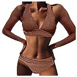 Bikini Mujer 2021 Verano, Conjunto de Bikinis para Mujer, Mujer Push Up Trajes de Baño de Dos Piezas Moda Ropa de Playa Conjunto de Bikinis Traje de baño con Cintura Alta para Relleno Playa