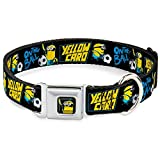 Buckle Down dc-wds067-l dsdb Minion Fußball Karte Full Color Hundehalsband, schwarz/blau/gelb, groß/38,1–66cm
