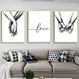Unframed 3Set Wall Art Minimalist Painting,Love Hand in hand Minimalist Black and White Canvas Line Art Print Poster,Minimal Wall Art Sketch Art Line Painting for Bedroom Living Room