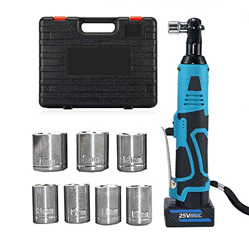 MEYLEE Electric Ratchet Wrench Kit 3/8' Square Drive, with 2 Lithium-Ion 1500mAh Batteries, Variable Speed Trigger, 7 Sockets, 250RPM Speed, for Mechanical Maintenance Repair DIY Tasks,25V