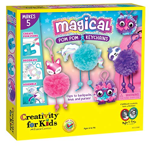 Creativity for Kids Magical Pom Pom Keychains Craft Kit – Create 5 Backpack Accessories