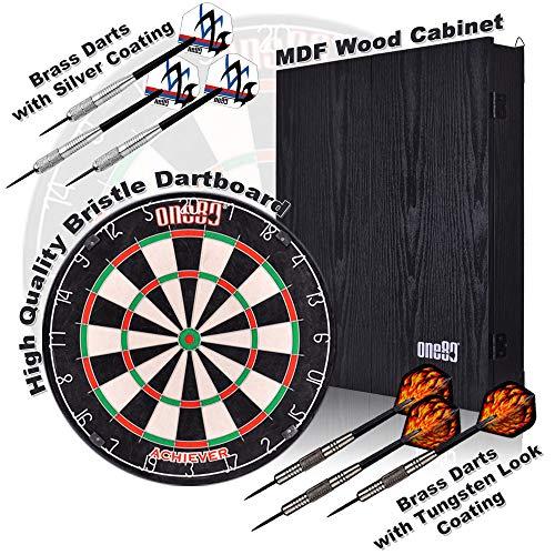 ONE80 Dartboards mit Dartschrank aus Holz, Borsten-Sisal Dartboard mit Steeldarts und Scoreboard