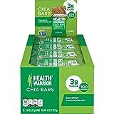 HEALTH WARRIOR Chia Bars, Coconut, Gluten Free, Vegan, 25g bars, 15 Count