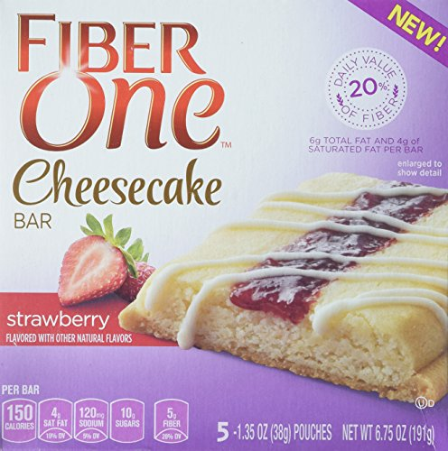 Fiber One Cheesecake Bars, Strawberry Cheesecake (Pack of 4)