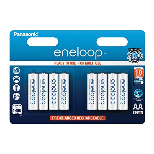 Panasonic eneloop, Ready-to-Use Ni-MH Akku, AA Mignon, 8er Pack, min. 1900 mAh, 2100 Ladezyklen, starke Leistung und geringe Selbstentladung, wiederaufladbare Akku Batterie