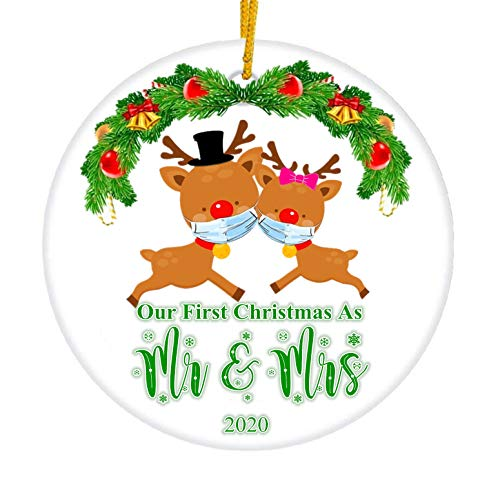 JUPPE Our First Christmas As Mr & Mrs Ornament Cute Deer Style Newlywed Decoration Romantic Couples Gift (Cute Deer-2)