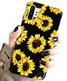 Galaxy Note 10 Plus/Note 10 Plus 5G Case Vintage Floral,J.west Cute Yellow Sunflowers Black Soft Cover for Girls/Women Slim Fit Fashion Design Pattern Drop Protective Case for Galaxy Note 10+ Plus