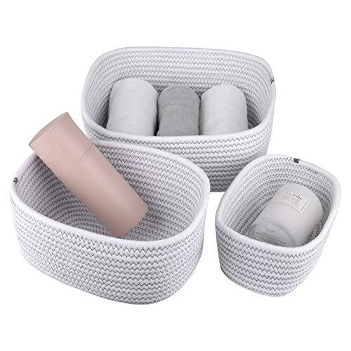 La Jolíe Muse Cestas almacenaje de algodón Tejido con Cuerda, Juego de Cajas de almacenaje, cestas baño, cestas organizadoras Cocina y Dormitorio, Blanco con patrón de línea en zig-Zag, Set 3