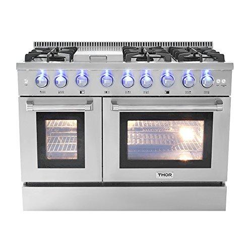 Thor Kitchen HRG4808U 48' Griddle Gas Range with 6 Burners and Double 4.2 cu.Ft and 2.5 cu, ft Oven Capacity Stainless Steel