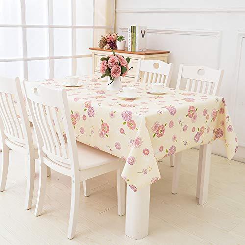 TWTIQ Mantel Simple PVC Restaurante Mantel Impermeable Y A Prueba De Aceite Mesa De Centro Lavable Mantel Rectangular Flores Rosadas 137 * 180 Cm