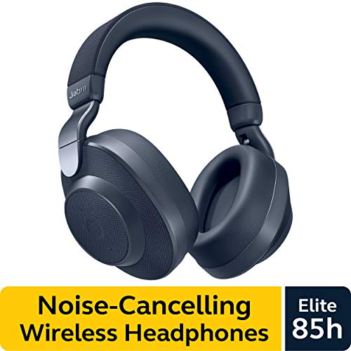 Jabra Elite 85h Wireless Noise-Canceling Headphones, Navy - Over Ear Bluetooth Headphones Compatible with iPhone and Android - Built-in Microphone, Long Battery Life - Rain and Water Resistant