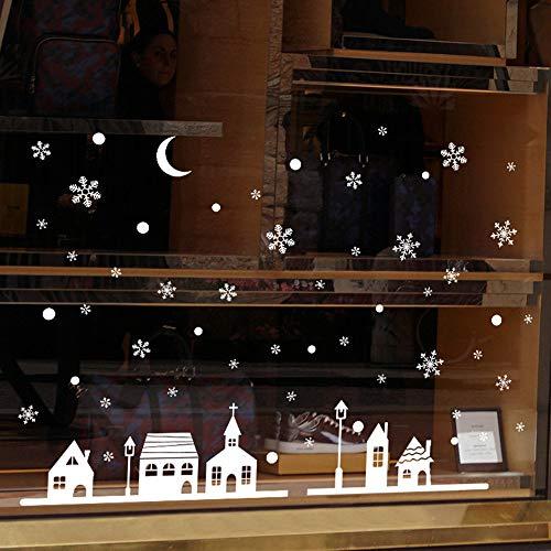 Transwen Decoración, copos de nieve, decoración de ventanas, decoración de Navidad, copos de nieve, ciudad (blanco)