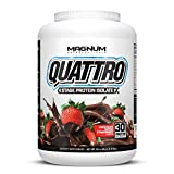 Magnum Nutraceuticals Quattro Protein Powder - 4lbs - Chocolate Dipped Strawberry - Protein Isolate...