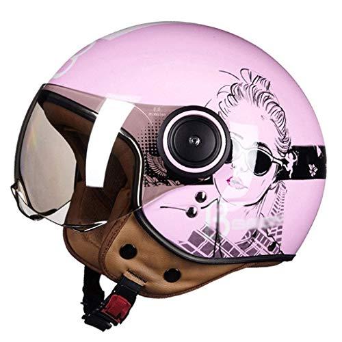 DLPAC Motorrad-Halbhelm mit Sonnenschutz, DOT-zertifizierter Open-Face-Jet-Helm Vintage Chopper Pilot Vespa-Helm Retro Cruiser Biker Mofa Bobber Moto-Helm