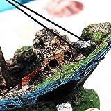 UEETEK Fish Tank Zubehör Schiff Aquarium Ornament Dekoration für kleine Fische Garnelen Cichild Schildkröte - 6