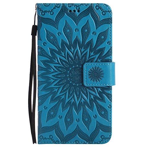 ISAKEN Compatibile con Samsung Galaxy Note 3 Custodia[PU Pelle] [Shock-Absorption], Libro Flip Cover Portafoglio Case Tinta Unita Caso con Supporto di Stand/Carte Slot/Magnetica - Girasole: Blu