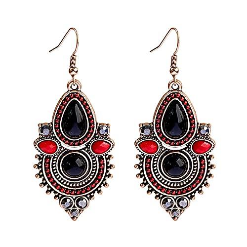 FEARRIN Pendientes asimétricos Pendientes Bohemios de Gota de Agua para Mujer Pendientes Negros Rojos Vintage Aspicture