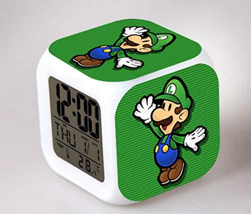 XINKA Reloj Super Mario Reloj Despertador Super Mario para niños, Regalo de cumpleaños, Reloj Despertador Digital con Cambio de Color de Escritorio Junto a la Cama