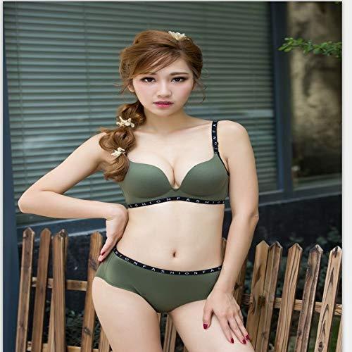 zysymx Japón y Corea del Sur Encaje cáscara Taza Ropa Interior Grueso pequeño Cofre Lado Reunidos Conjunto Sujetador Conjunto Piel algodón Verde (Juego) 34 / 75AB