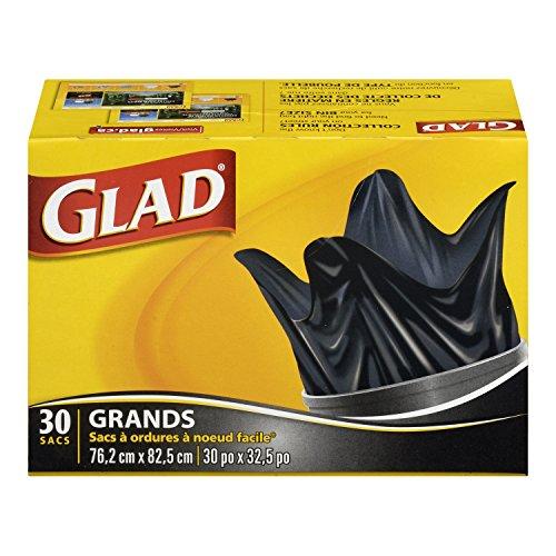Glad Black Garbage Bags - Large 77 Litres - Easy-Tie Handles, 30 Trash Bags