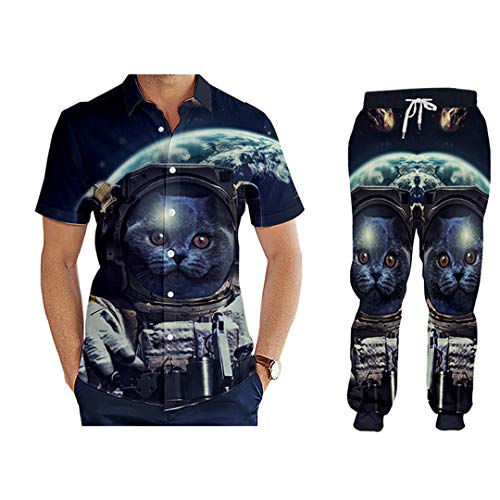 Taiernafi 3D Printing Space Cat Couple Suit Zip Hoodies Pants Men's Tracksuit Sportswear Large Size BTPA70332 4XL