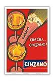 Pacifica Island Art - CIN CIN Cinzano - Asti Spumante - Italian Sparkling Wine - Vintage Advertising Poster c.1970 - Master Art Print - 12in x 18in