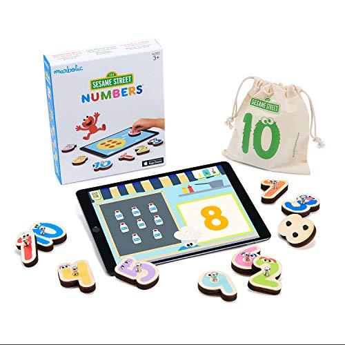Marbotic - Sesame Street Numbers pour iPad - De 3 à 5 Ans - Set de Nombres Interactifs en Bois - Jeux Éducatifs Manuels pour Enfants - Outil pour Apprendre Les Mathématiques Basiques à la Maison