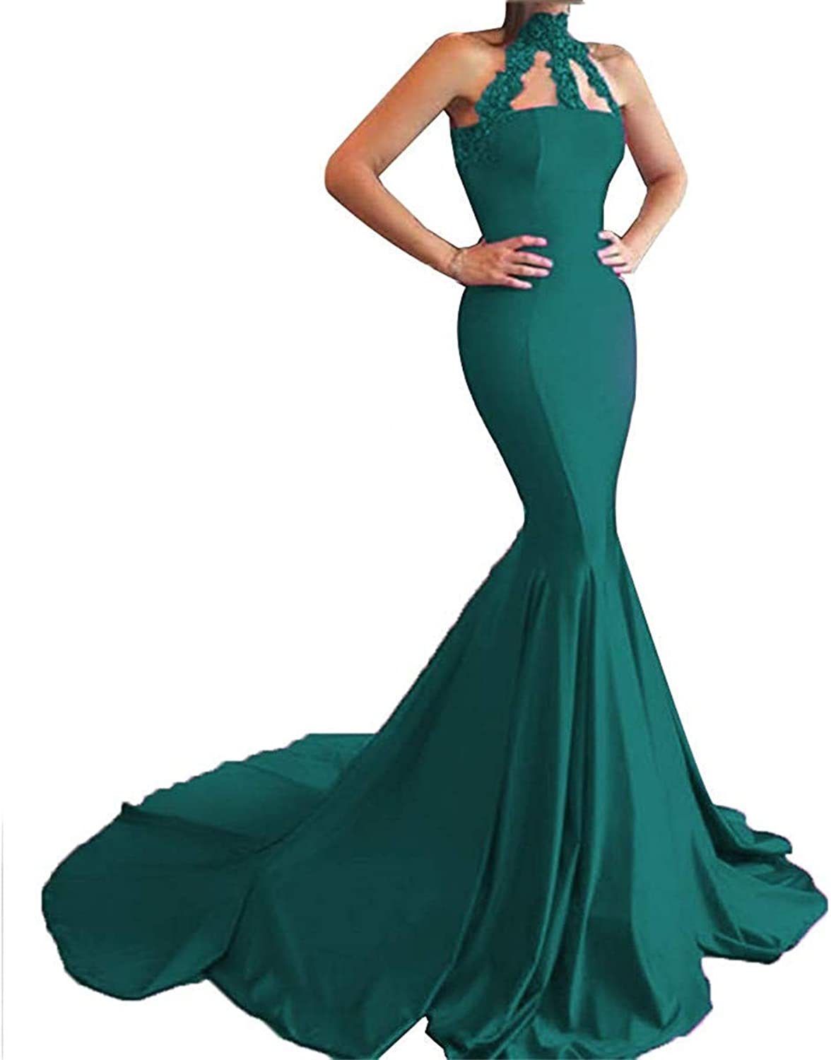 Sulidi Womens High Neck Applique Formal Dress Mermaid Prom Dress 2019 Evening Gowns with Train C235