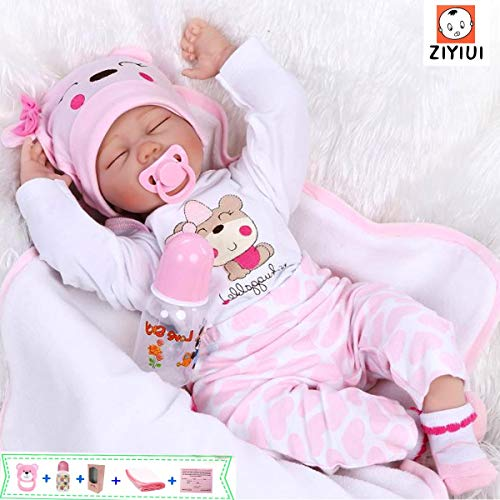 ZIYIUI Reborn Baby-Puppe 22Zoll 55cm Realistisch Weiches Vinylsilikon Baby Puppe Mädchen Handgemacht Neugeborene Echte Babypuppe (Puppe mit geschlossenen Augen)