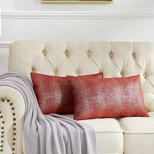 OMMATO Funda de cojín de terciopelo, 30 x 50 cm, color burdeos, rojo y plateado, con impresión decorativa, para sofá, dormitorio, salón, 2 unidades