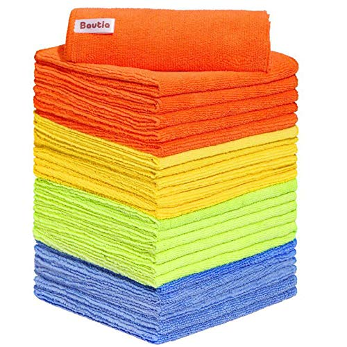 "Bautia Microfiber Cleaning Rags for Housekeeping, Microfiber Cleaning Cloth 24 Pack, Microfiber Cleaning Towels Rags for Cleaning House Kitchen Bathroom Car 12.6""x12.6"""