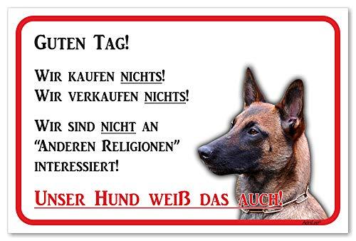 AdriLeo Schild - Vorsicht Malinois - Wir kaufen Nichts - (20x30cm) / Achtung Hund Wachhund