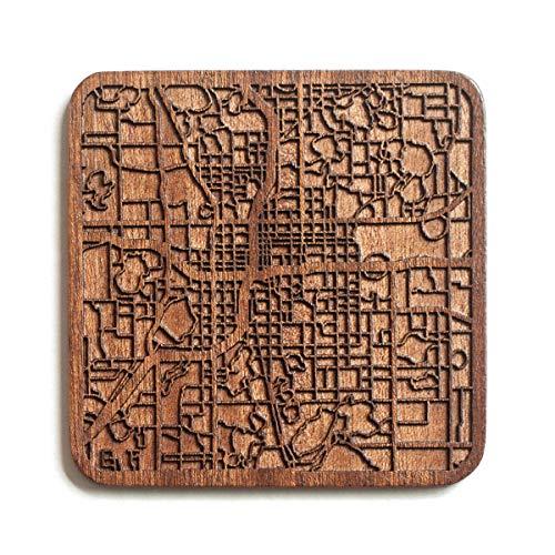 Orlando,FL Map Untersetzer von O3 Design Studio, 1 Stück, Sapeli-Holz-Untersetzer mit Stadtkarte, mehrere Stadt optional, handgefertigt