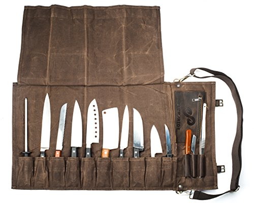 Chef Knife Roll Bag Holds 10 Knives PLUS Slots for Culinary Tools -...
