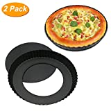 Homga 2 Pack Non-Stick 9 Inches Removable Loose Bottom Quiche Tart Pan, Tart Pie Pan, Round Tart Quiche Pan with Removable Base