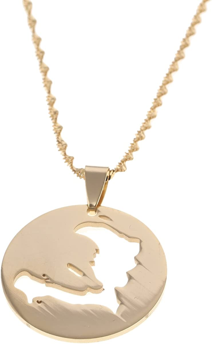 Haiti Map Pendant Necklaces for Women Girls Ayiti Gold Color Map of Haitian Chain Jewelry