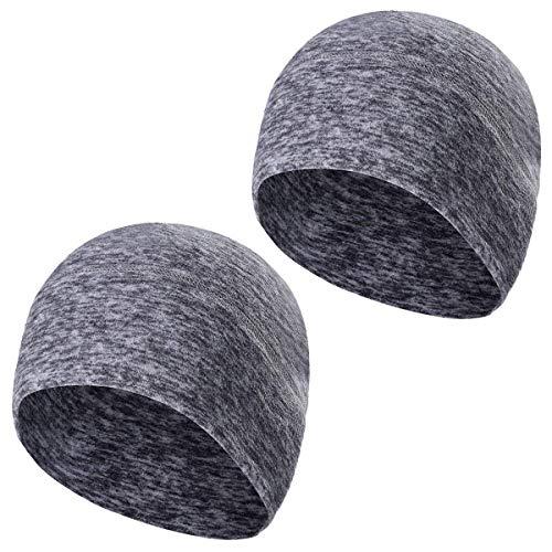 TAGVO Winter-Fleece-Mütze, Running Beanie Mütze Kopfbedeckungen mit Ohrenschützer, Helm Liner für Erwachsene Frauen und Männer elastische Größe Universal (Grau-1 Packung)