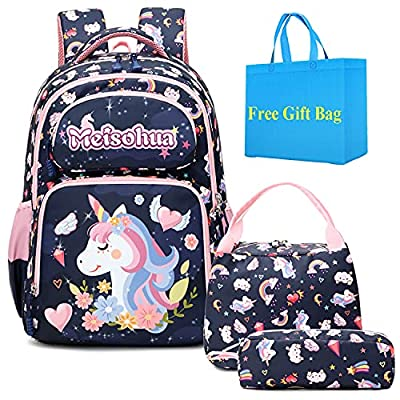 Mochilas Escolares Niñas Mochila Infantil Unicornio para Chicos Mochilas Escuela Primaria 3 en 1 Sets de útiles Girls Backpack Set