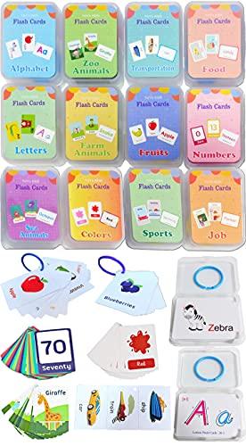 Femtos フラッシュカード 英単語 幼児 12種セット 306枚 英語カード 知育玩具 モンテッソーリ 専用ケース入り かわいい (全12セット)
