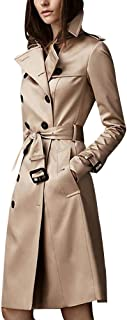 ilishop Women's Elegant Jacket Silm Long Trench Coat