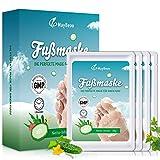 4 Paar Fußmaske MayBeau Hornhaut Socken zu Entfernung Exfoliating Fußpflege Set mit Gurke Duft...